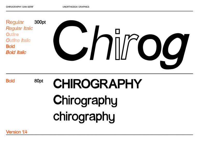 MA Communication Design Work by Chirag Jotangia showing type specimen of Chirography with a dynamic range.