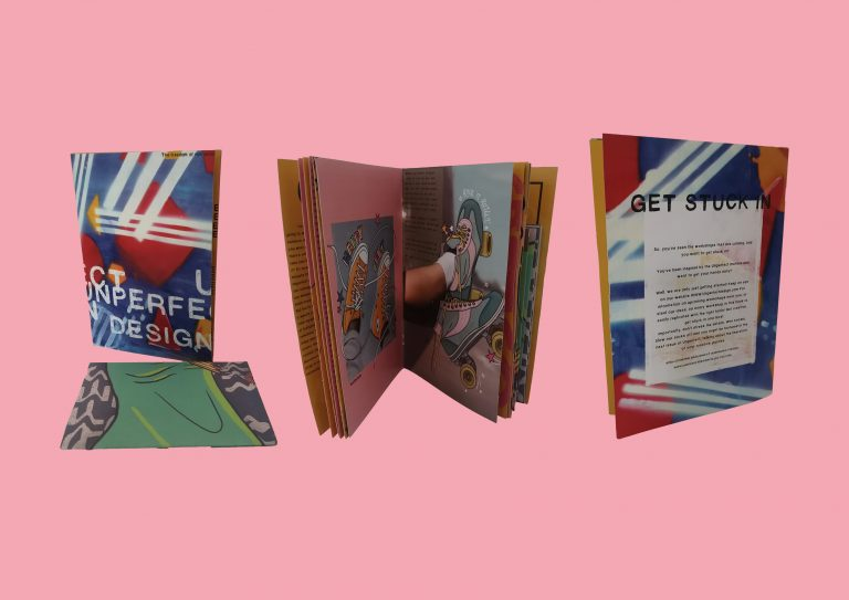 MA Communication Design work by Daniel Marchi showing three separate images of the printed Unperfect Zine, featuring the free removable poster designed by Chesnie Walters.