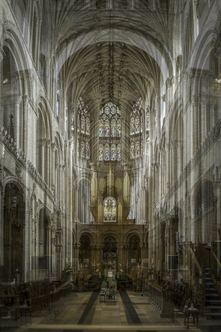 MA Photography work by Danny Merritt showing a layered image of the inside of Norwich Cathedral.