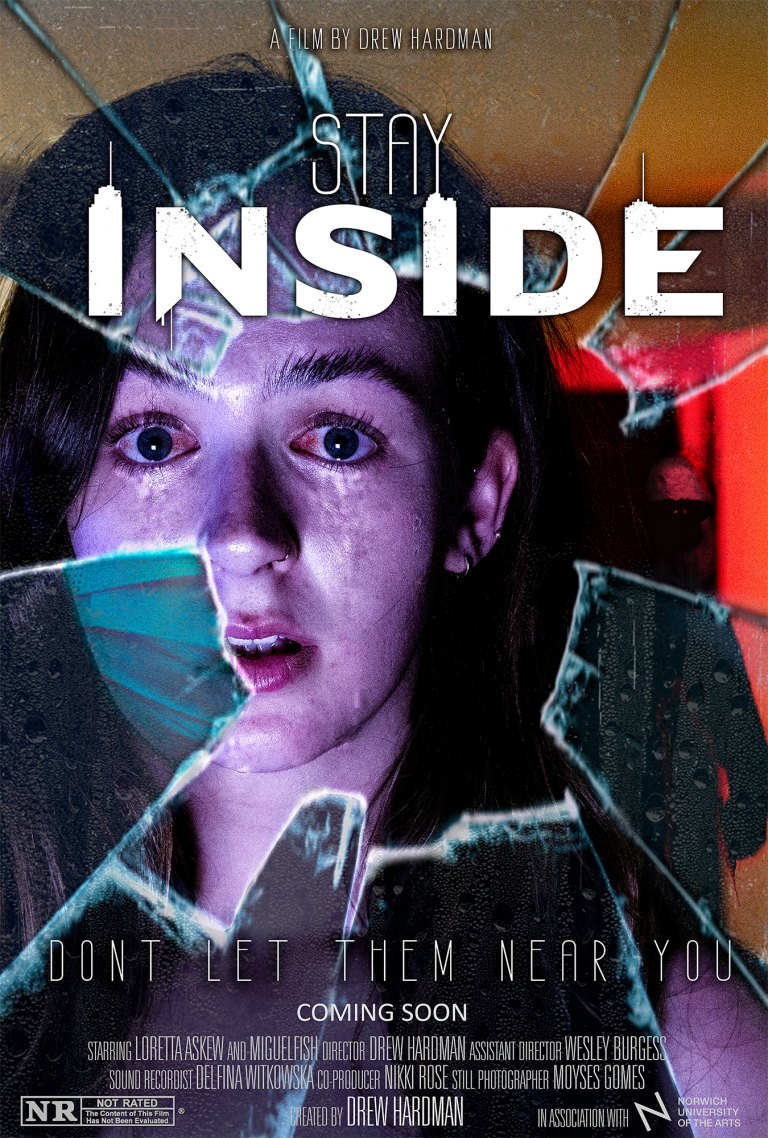 """MA Moving Image and Sound by Drew Hardman showing a haunting movie poster teasing the film """"Stay Inside"""""""