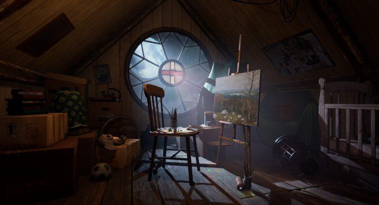MA Games 3D Environment by Ekaterina Shershneva showing an attic scene