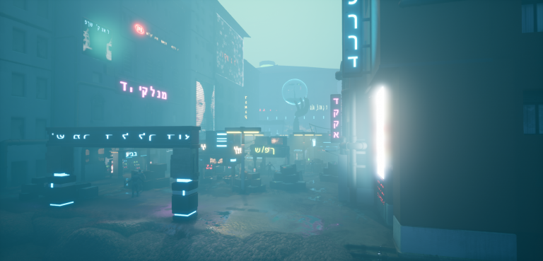 MA Games work by Mingyo Choi showing a futuristic marketplace scene with hazy blue light.