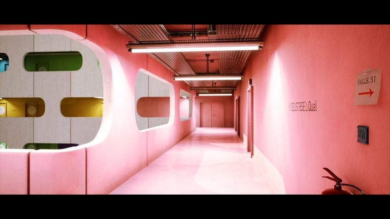 MA Games work by Jack Lennon showing the pink floor of a building
