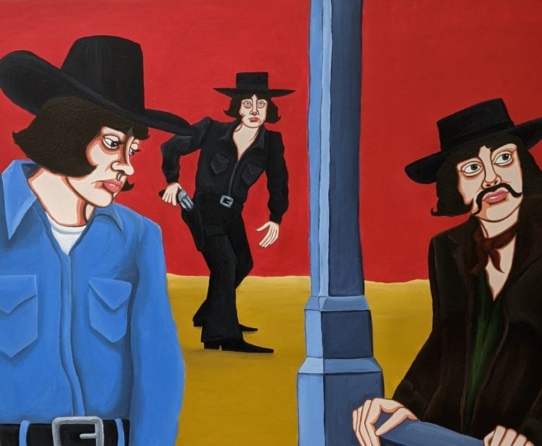 MA Fine Art highly stylised self-portrait by Jennifer Wright depicting herself as multiple iconic cowboys in pop culture.