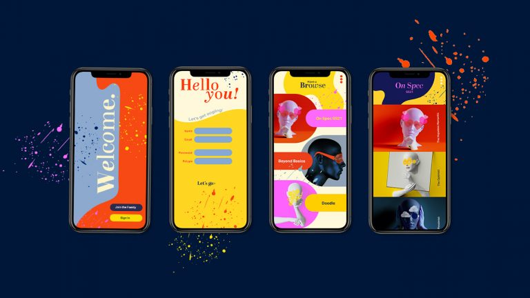 MA Communication Design work by Kat Bean showing an image of eyewear brand app interfaces. 4 app interfaces, each using orange, yellow and pink colours against a dark blue background.