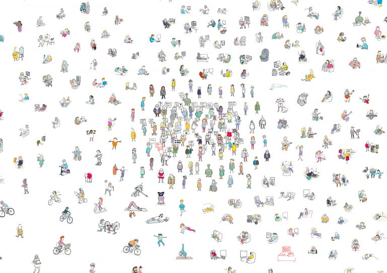 Large scale colour cartoon crowd image showing the same 40 characters in multiple lockdown activities.
