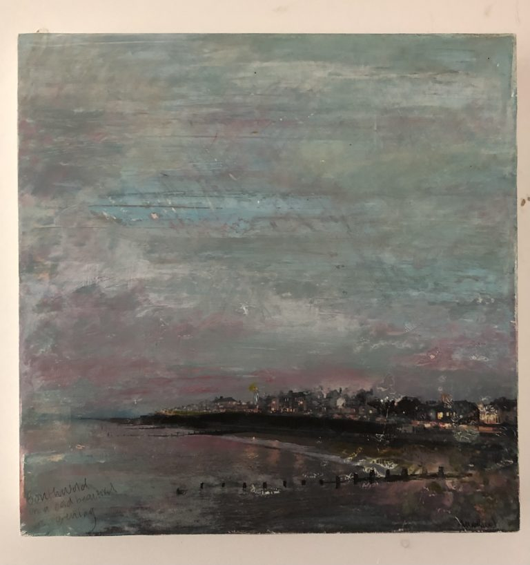 MA Fine Art work by Sally Maddams showing a mixed media image of Southwold from a winters walk.