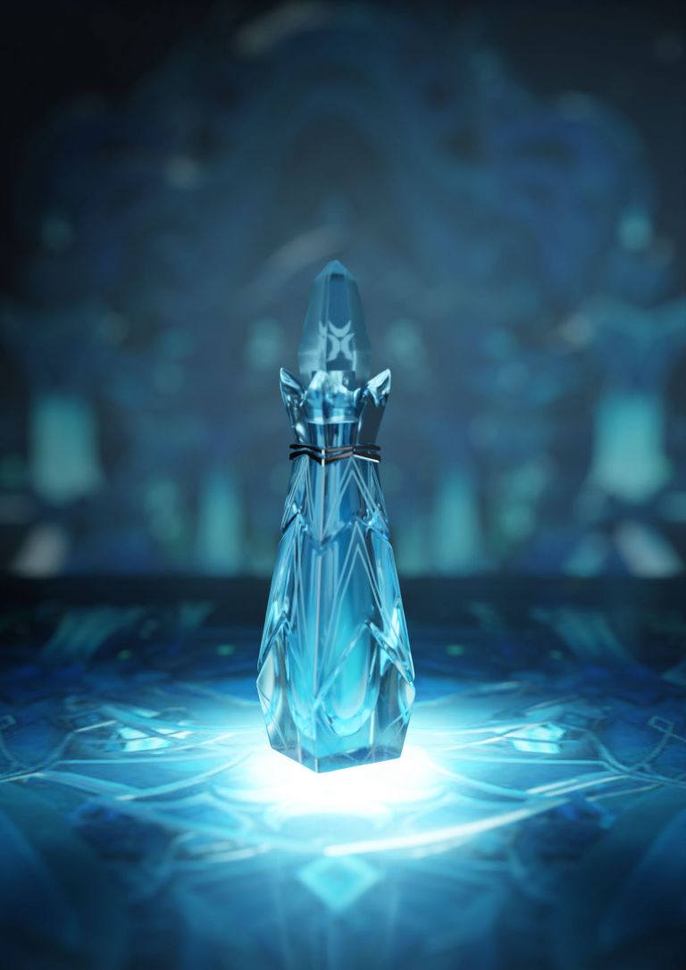 MA Games 3D render by Sarah Dade showing a slim crystal perfume bottle with shiny blue glass.